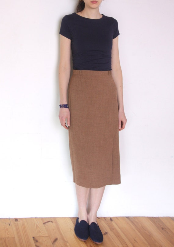 90's light brown midi skirt dark beige high waisted