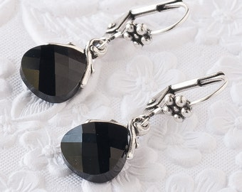Jet Black Crystal Earrings, Black Dangle Earrings,  Jet Black Earrings, Dainty Earrings, Swarovski Crystal Briolettes, Gifts Under 25