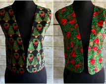 Reversible Ugly Christmas Vest Cotton Festive Christmas Tree Vest with Reversible Print Loose Tacky Christmas Holiday Waistcoat M L XL