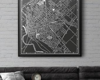 Dallas Map Print :  Black and White Dallas map print, vintage large print poster 1901
