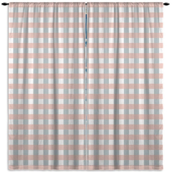 Items Similar To Plaid Window Curtain Corale And Blue Kitchen Window Curtains Bathroom Window