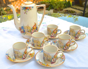 Art Deco Hampton Ivory Old England Gardens Swinnertons 6 Demitasse Expresso Coffee Can Cups & Saucers English Country Cottage and Hollyhocks