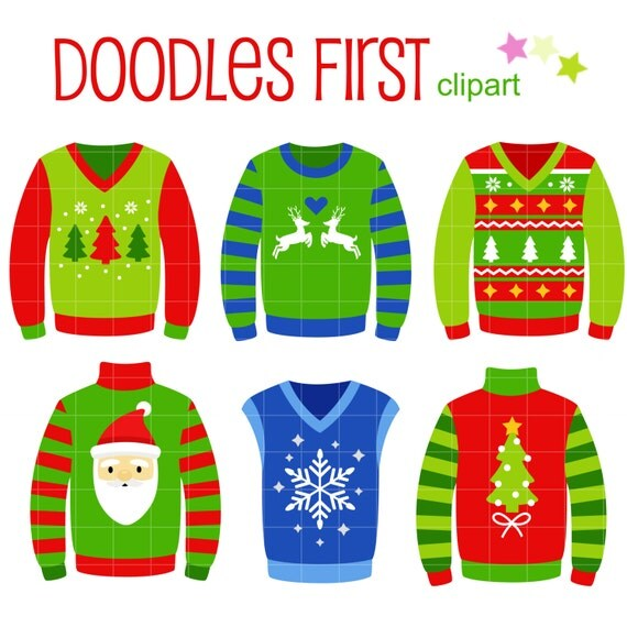 Ugly Christmas Sweaters Digital Clip Art for Scrapbooking Card Making    Ugly Christmas Sweaters Clipart