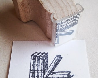 "Stamp - Book stack, 1""x.75"""