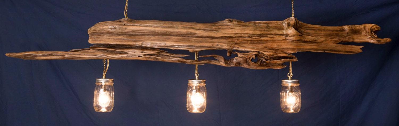 Cedar driftwood chandelier with Ball Mason Jar lights – Driftwood Chandelier