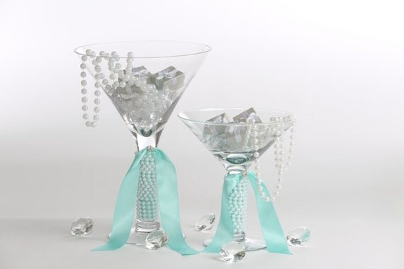 Large martini glasses bridal shower centerpiece card table
