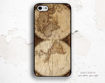 World Map iPhone 6 Case, iPhone 5C Case Globe Map - iPhone 6 Plus, iPhone 5 / 5s Case, Vintage Map iPhone 6 Case Antique :0848