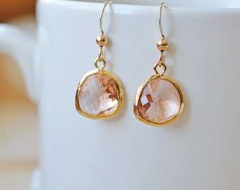 Peach Pendant Earrings