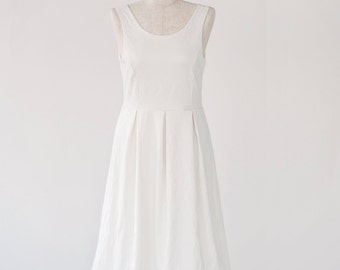 valentine's day sale 50% off Short wedding dress, Reception Dress, Garden Wedding ,midi white wedding dress With V-Back Cut