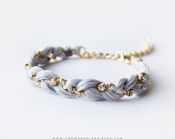 Grey / Braided Rhinestone Bracelet / Gold Chain / Braided Bracelet / Bridesmaid / Gold Chain Bracelet / Friendship Bracelet / Grey Bracelet