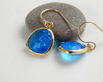 Capri blue and gold crystal dangle earrings, blue cz frosted, hanging earrings, everyday or special event earrings 379