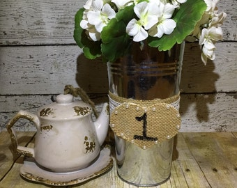 Rustic Wedding Centerpiece, Rustic Table Number Centerpiece, Heart Centerpiece, Burlap Centerpiece, Tin Vase Centerpiece, Wedding Table