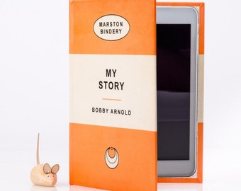 Tablet Cover with stand - Orange Personalised Retro Book Cover Case for all eReaders and Tablets