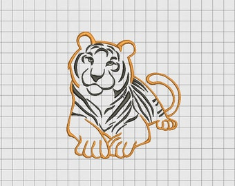 Tiger Realistic Applique Embroidery Design in 3x3 4x4 5x5 and 6x6 Sizes