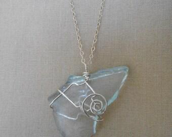 Sea Foam Aqua River Glass Silver Wire Wrapped Necklace