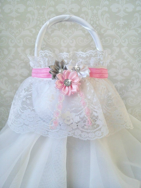How To Make A Lace Flower Girl Basket : White lace flower girl baskets pink and