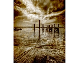 Sepia Pier Print, Waterscape, Vintage, Rocky Beach, Clouds, Landscape Photograph, Nature, Fine Art Photography, Brandon Spannbauer