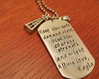 Hand stamped dog tag oilfield necklace. Keep him safe day and night-Oilfield gift-Roughneck gift-Man's oilfield necklace-Derrick necklace