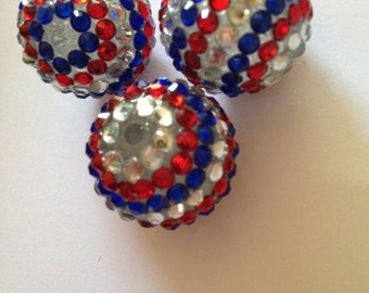 American Flag/Red White Blue Chunky Large Resin Beads - QTY 3