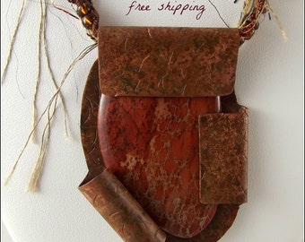 Artisan Copper Necklace with Red Jasper and Fiber Cord Necklace