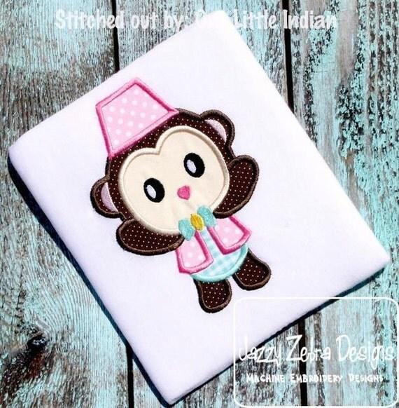 Circus Monkey Applique embroidery design - circus appliqué design - monkey appliqué design - carnival applique design