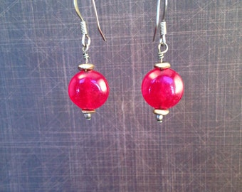 Red Glass Bead Earring