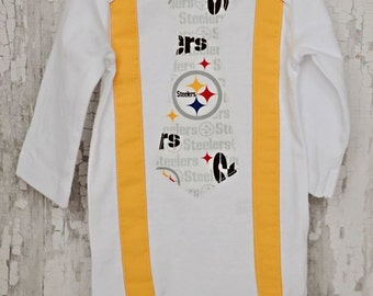 STEELERS Onesie with Steeler Tie and Gold suspenders/ STEELERS/Football/ Pittsburgh/Photo Prop/ Game Day/ Made/ Order