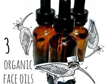 3 Organic Face Oils - Organic Rosehip Oil - Organic Macadamia Nut Oil - Organic Avocado Oil - Organic Facial Moisturizer - Natural Oils