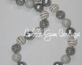 White and Silver Bubble Gum Necklace