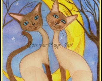 Romantic Siamese Cats, in the Moonlight, Card or Print, Item #0128a