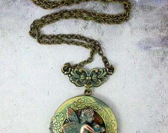 Antique Bronze Cherub Necklace Keepsake Jewelry Memorial Gift Cherub Photo Locket Memorial Necklace Birthday Gift Christmas Stocking Stuffer