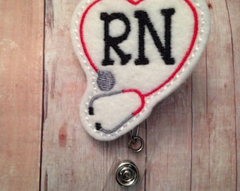 Nurse badge reel -- RN with red and grey stethoscope -- great gift