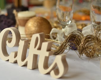 wedding  reception GIFTS SIGN unpainted, painted or glitter // script wooden letters,  Wedding decoration, curved letters