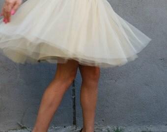 "Gold Women Tulle Skirt, Knee length Tutu Skirt, Princess Skirt,  Wedding Skirt - – ""Choose to be me' / EXPRESS SHIPPING / MD10017"