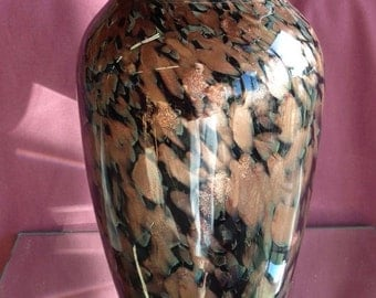 ART GLASS Vase SIGNED Scandinavian Copper and Black - 9 inches tall -