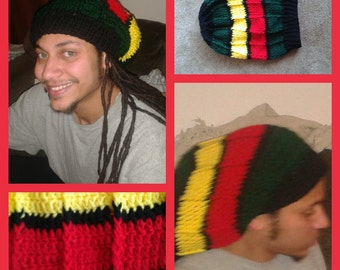 Adults Crocheted JAMAICAN RASTA BEANIE pattern