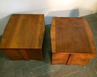 Pair of 60s Lane Furniture Geometric Brutalist Mid Century Modern End Tables Geometric Brutalist