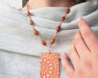 Copper and jasper beads necklace