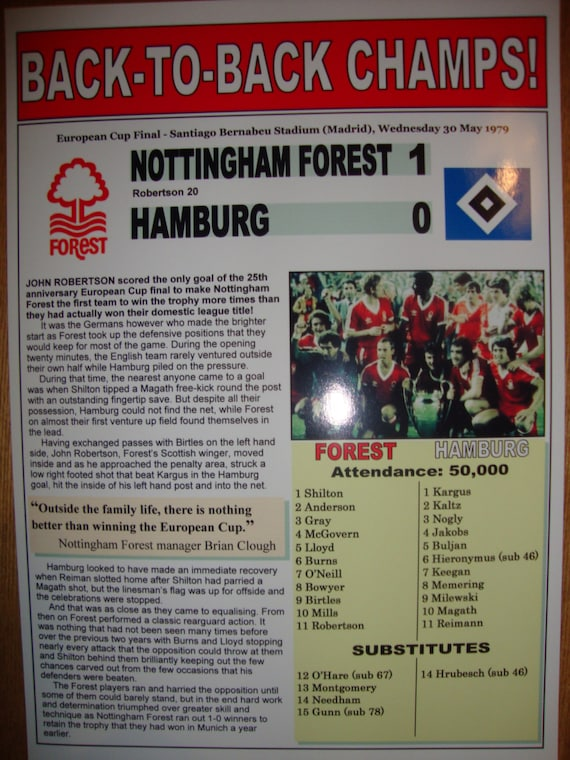 Nottingham Forest 1 Hamburg 0 1980 European Cup by ...
