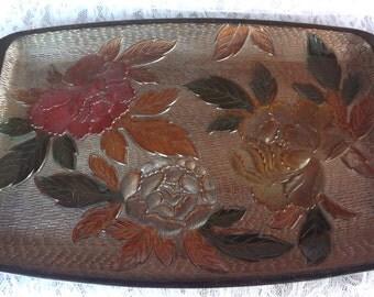 Textured Dark Floral Resin Tray 9 1/2'' x 15''