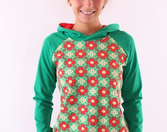 """Hoodie """"Gisela"""" with flowers grass green / red"""