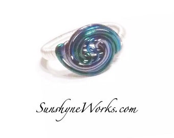 Blue and Green, Wire Wrapped Ring, Blue Wave Ring, Blue Wire Ring, Wire Wrapped Ring, Spiral Ring, Green Ring, Waves, Spiral Wire Jewelry