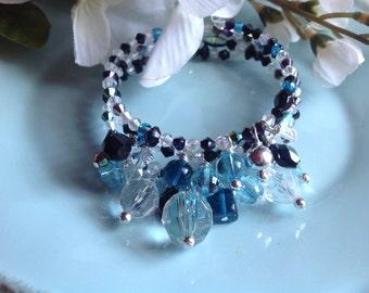 Memory wire bracelet, charm bracelet, trendy jewelry, crystal bracelet, cha cha bracelet, chunky bracelet, wrap bracelet, handcrafted