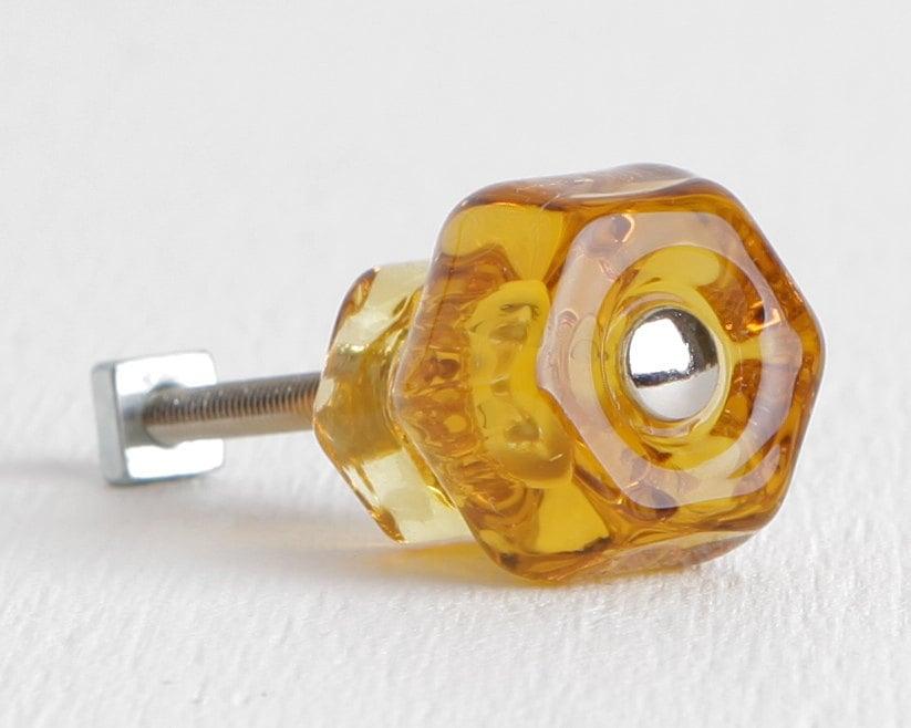 Honey amber glass knobs cabinet or drawer knobs dresser for Glass bureau knobs