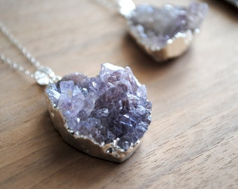 """Raw Silver Druzy Necklace - Silver Dipped with 18"""" Delicate Sterling Silver Chain, Drusy Necklace"""