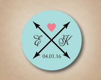 Rustic Wedding Stickers Personalized Wedding Stickers Custom Favor Labels Heart and Crossed Arrows Design Rustic Wedding Favors Ideas