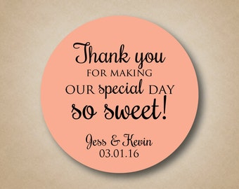 Thank You Stickers Wedding Favor Stickers Special Day So Sweet Personalized Wedding Favor Labels Custom Round Stickers Wedding Favors