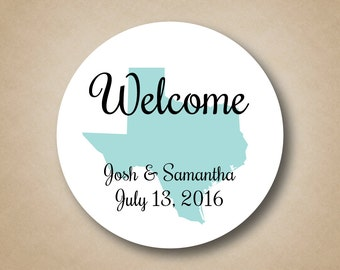 Wedding Welcome Bag Sticker State Stickers Wedding Welcome Box Label Gift for Hotel Guests Out of Town Guest Favor Sticker Gift Bag label