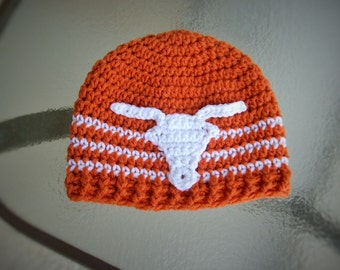 Crochet Longhorn/bull/cow Beanie/Hat Sizes 0-3 Months up to Adults *You Pick Colors and Size* Longhorns for the Whole Family!!!