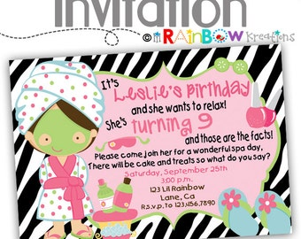 013: DIY - Zebra Print Spa 2 Party Invitation Or Thank You Card
